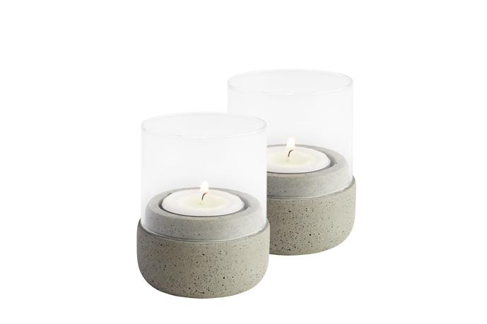 Metall Teelichthalter Kerzenhalter weiss//grau 2er Set Bianco Windlicht